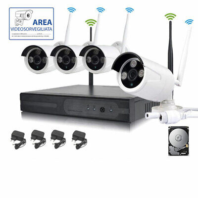 Kit Videosorveglianza Wireless  Dvr Nvr  4 Canali 4 Telecamera Wireless+ Hd 1 Tb