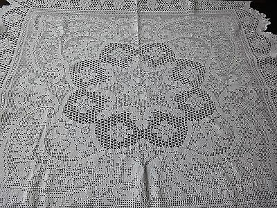 Beautiful White Vintage Handmade Cotton Crochet Floral Tablecloth