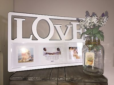 Contemporary Style White Photo Frame Love Multi Aperture x3 Picture Holder Gift