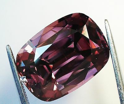 1x Natur Zirkon -  Cushion Pinkrot facettier VVS 6,08ct. 11,1x8,2x6,0mm (1293)