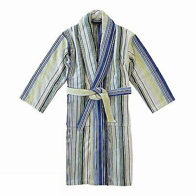 Christy 100% Cotton Bath Robe Dressing Gown Grey, Green and Blue Pinstripe