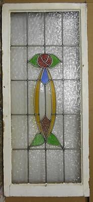 "LARGE OLD ENGLISH LEADED STAINED GLASS WINDOW Geometric Floral 20"" x 44.75"""