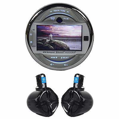 "Dual MGH30BT Marine Digital Media Receiver+(2) 6.5"" Rockville Wakeboard Speakers"