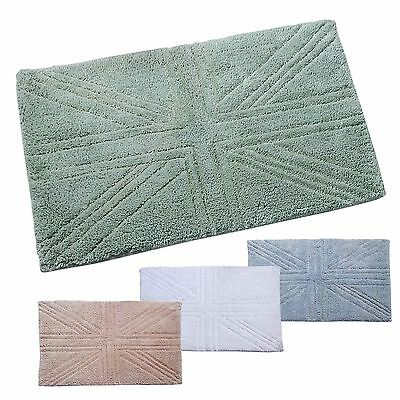Bathroom Shower Mat Small Large Super Soft Cotton Washable Union Jack Toilet Mat