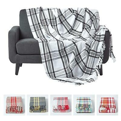 Cotton Extra Large Tartan Throws For Sofas Bed Throw Blankets Bedspreads