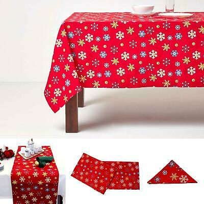Christmas Cotton Red Snowflake Tablecloth Napkin Placemat Runner Decoration
