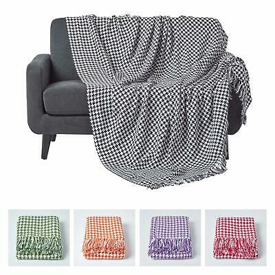 Houndstooth Cotton Check Extra Large Sofa Bed Throws Blanket Dogtooth Bedspreads