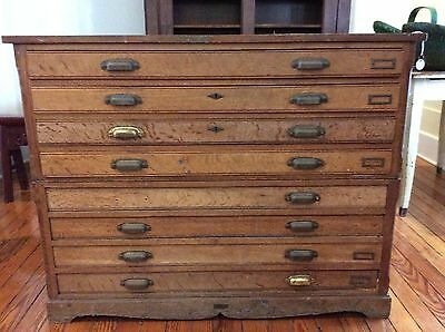 Oak Flat File Chest In As Found Condition