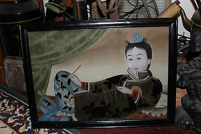Chinese Asian Reverse Painting On Glass Woman Lying Down Handbag Colorful