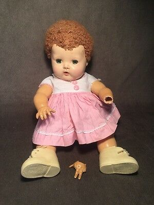 2 Vtg American Character Tiny Tears Doll Caracul & Rooted Wig broken Leg/finger