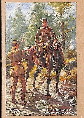 Military Postcard Harry Payne 16th The Queens Lancers Despatch Tuck Oilette I0