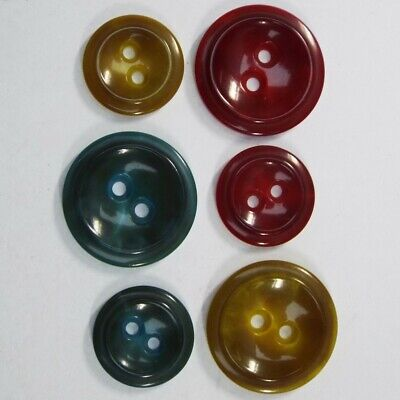 Vintage Retro Style Lovely Italian Gloss Buttons.15 & 20mm Red Blue Yellow Dusky