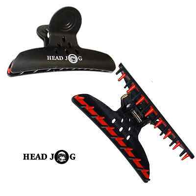 Head Jog Black Hairdressing Clips Jaws, Silicone Butterfly Clamps, Styling x4