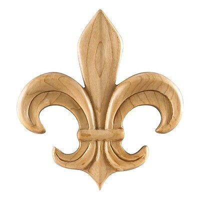 Box of 5 - Beautiful-Fleur-de-lis  WOOD Pressed Appliques- FREE SHIPPING