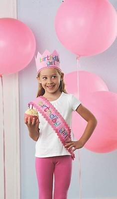 Mud Pie Birthday Girl Collection Pink Crown Hat and Sash Banner Set 1512006 New