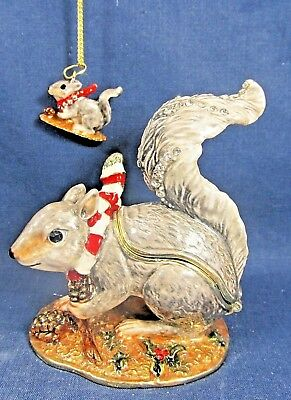Winter Squirrel w necklace Enamel Jeweled Pewter Trinket Box Wildlife Home Decor