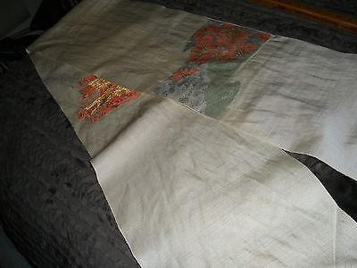 "VTG Japanese Kimono/Obi Fabric-Cream Color-11 1/4"" x 92""-Raw Ends"