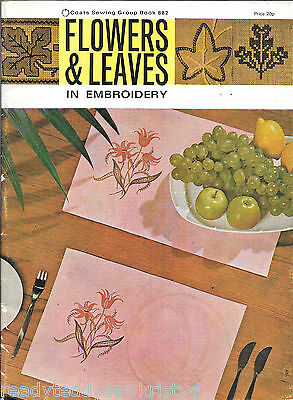 Vintage Coats #882 Flowers & Leaves in Embroidery transfers pattern book motif