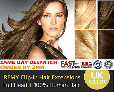 "18"" 20"" 22"" Clip In Remy 100% Real Human Hair Extensions Weft Full Head 8pcs"