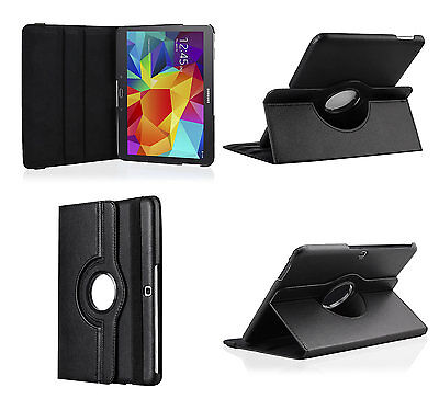 Leather 360 Rotating Folio Stand Case Cover For Samsung Galaxy Tab 4 T530 10.1""