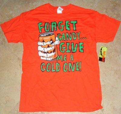 Halloween Mens Beer Shirt Large 42 - 44 Orange Pre Shrunk 100% Cotton Cold One !