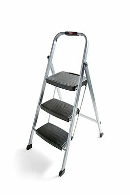 Rubbermaid RM-3W Folding 3-Step Steel Stool 200-Pound Capacity,Silver Finish NEW