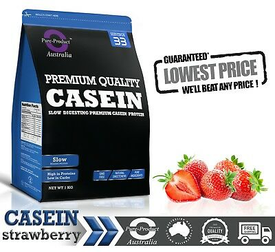 1Kg Strawberry  Micellar Casein Protein Powder - Night Release -  1 X 1Kg