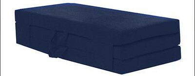 Blue Double 120cm Wide Folding Sofabed Futon Fold Out Foam Guest Mattress Bed