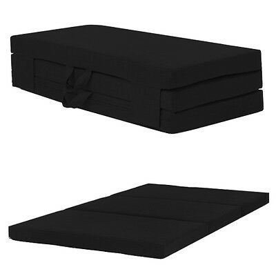 Black Double 120cm Wide Folding Sofabed Futon Fold Out Foam Guest Mattress Bed