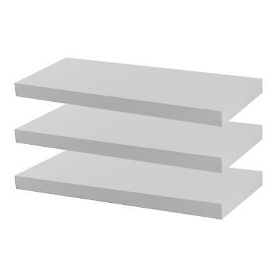 Floating Wall Shelf Wooden Shelves Wall Storage 60cm - White - Pack of 3