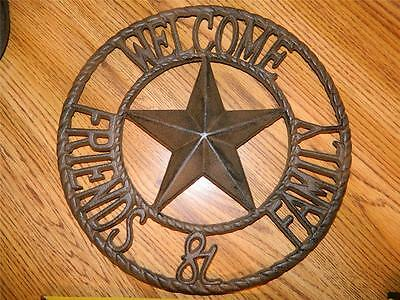 """Large Round Cast Iron Western Decor """"welcome Friends & Family Very Nice New"""