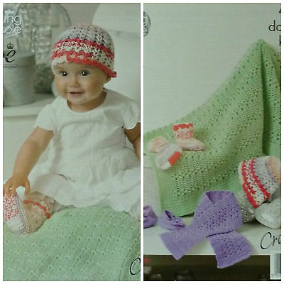 CROCHET PATTERN Baby Socks, Scarf, Shoes, Hat and Blanket DK King Cole 4419