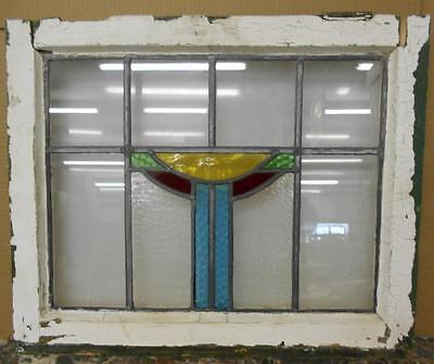 "OLD ENGLISH LEADED STAINED GLASS WINDOW Pretty Abstract Design 22"" x 18.25"""