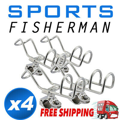 4 clamp 316 Stainless Steel Rod Holder RAIL Mount 360 degree Wire Fishing Boat K
