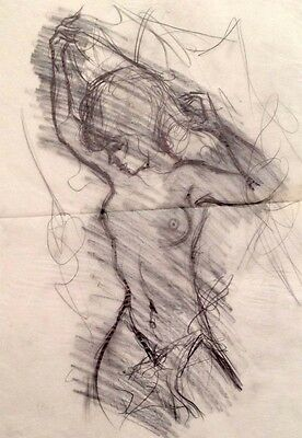 """Julian Ritter-Nude Lady-Charcoal Tracing on Vellum_ 19"""" x 20"""" Un-Signed- 316"""