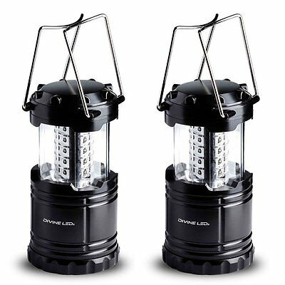 Divine LEDs Bright 2 Pack Portable Outdoor LED Camping Lantern, Black,DL-CLL-002