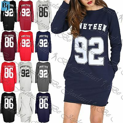 Womens Nineteen 92 Los Angeles USA Football Baggy Pocket Tunic Sweatshirt