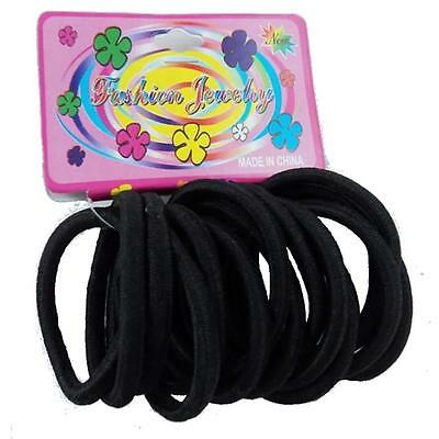 Hair Bands Elastic Ponytail Rubber Bobbles Black thick 15 Pack Pony tail