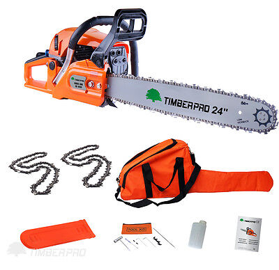 """TIMBERPRO 24"""" 62cc Petrol Chainsaw & 2x 24 Inch Saw Chain. Assisted Easy Start"""