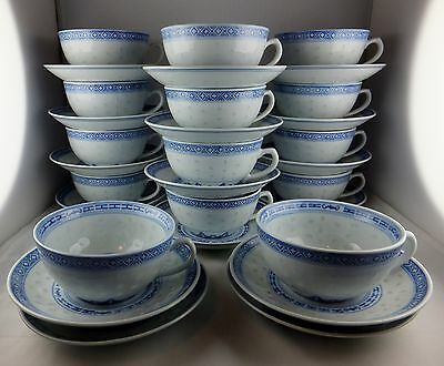 14 Tienshan China Rice Flower Flat Cup & Saucer Sets - Blue & White Floral