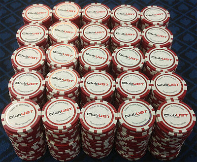 500 CLUB UBT Composite Poker Chips Blue 12 GRAM Tournament GREAT DEAL