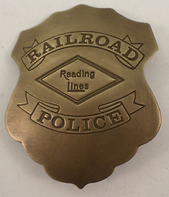 Embossed Railroad Police Reading Line Solid Brass Badge Pin #174