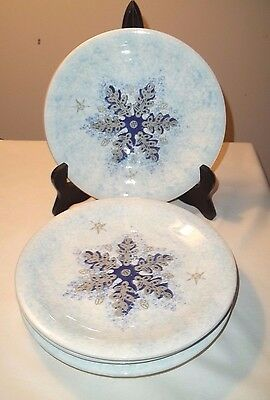 "Home Snowflake 8"" Lunch Plates Ceramiche Umbre Made In Italy Set 4 Blue Silver B"