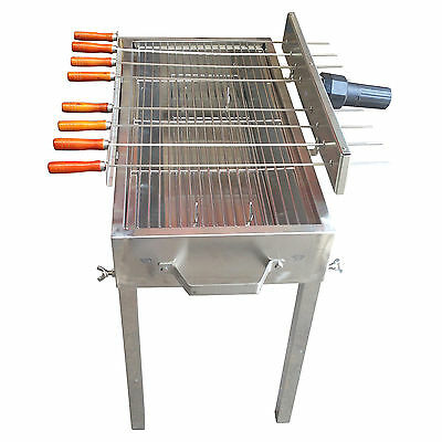 New Stainless Steel Rotisserie skewer charcoal BBQ  with grill and 2 kgs rotisse