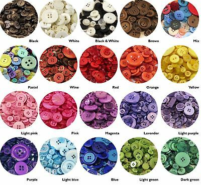 High Quality Coloured Plastic Buttons Assortment / Mix