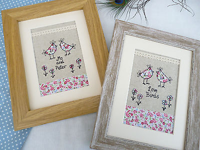 Love Birds Framed Picture choice of colour, frame & personalisation Wedding Gift