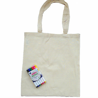 Pack Of 10  Natural Cotton Tote Shopper Bag + Pack Of 6 Fabric Pens -  Low Price