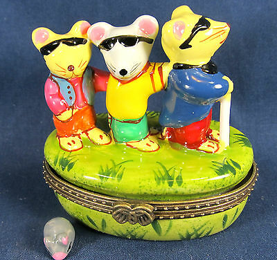 Three Blind Mice Ceramic Trinket Box fairy tale home decor