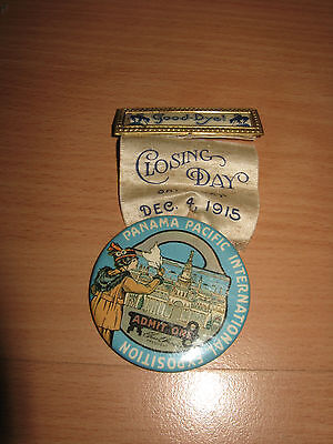 1915 PPIE Button Pinback Closing Day Pass Panama Pacific Int'l Exposition