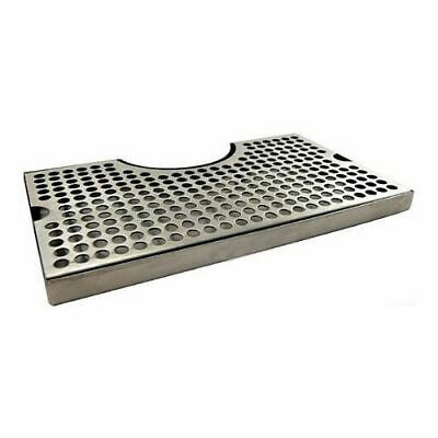"Stainless Steel Drip Tray with Cutout for Tower - Large 12"" x 7"" Beer Drip"